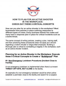 download how to plan for an active shooter in the workplace, 5 critical concepts