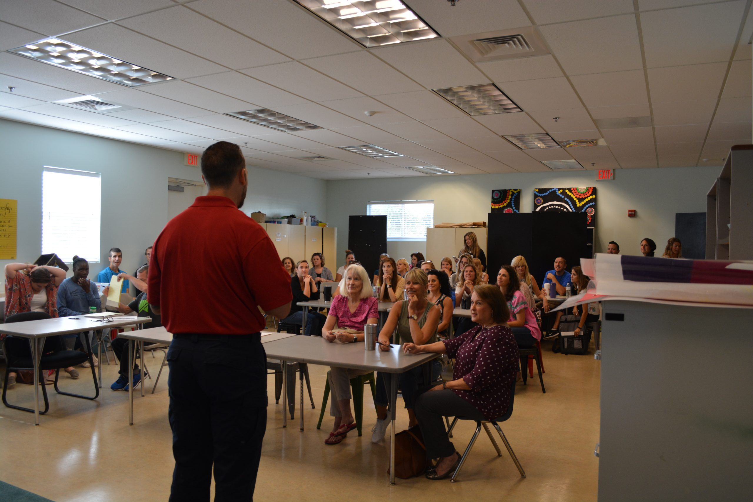 guardian defense trainer at a local school for back to school preparation tips regarding a local active shooter incident