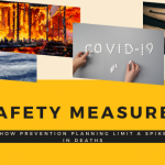 yellow banner with lettering safety measures, two hands writing covid-19 image of wildfire, natural disaster, How Safety Measures and Prevention Planning Limit a Spike in Deaths