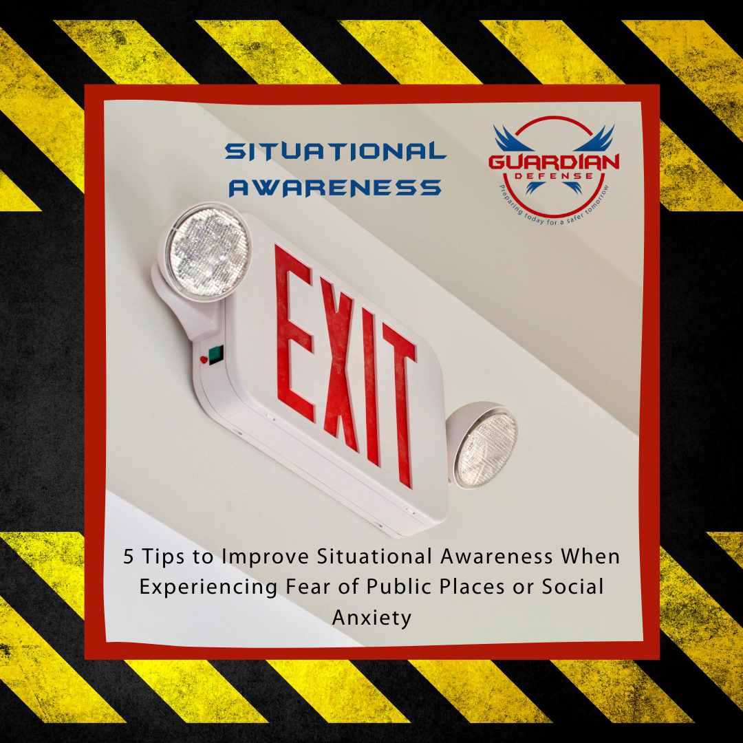 exit sign with flash lights, 5 tis to improve situational awareness when experiencing fear of public places or social anxiety