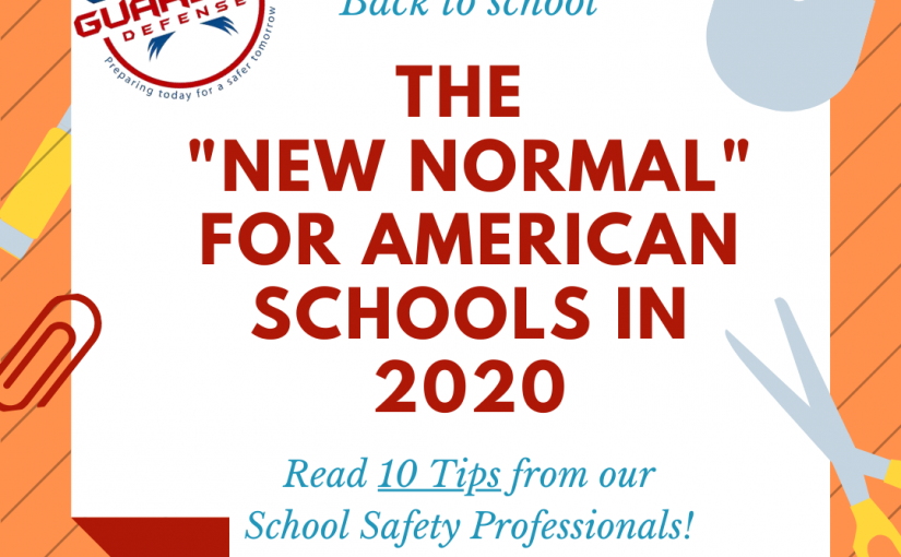 banner announcing back to school safety tips 2020 for schools, teachers, parents and kids