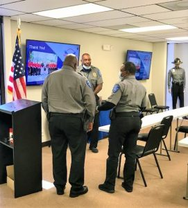 security guards in a training room, security guards training guide